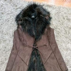 bagatelle faux fur vest suede